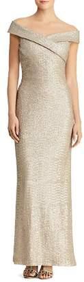 Ralph Lauren Sequined Off-the-Shoulder Gown