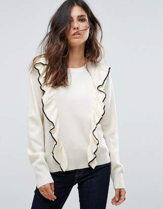 Liquorish Sweater With Ruffle And Contrast Trim