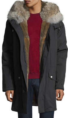 Yves Salomon Men's Classic Long Fur-Trim Parka Coat