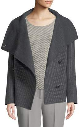 Emporio Armani Button-Front Pinstripe Wool Caban Coat