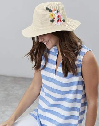 Joules Red Placement Floral Dora Floral Embroidered Sun Hat Size One Size