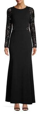 Eliza J Long-Sleeve Sequined Lace Gown