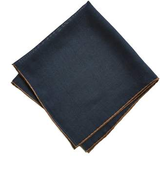 Drakes Drake's Solid Wool and Silk Pocket Square with Shoestring Border