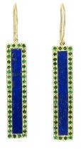 Jennifer Meyer Lapis and Emerald Bar Earrings - Yellow Gold