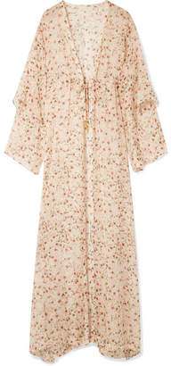 Paloma Blue - Sunset Floral-print Silk-chiffon Kimono - Baby pink
