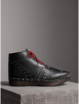 Burberry Riveted Leather Clog Boots