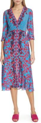 Saloni Eve Floral Print Silk Dress
