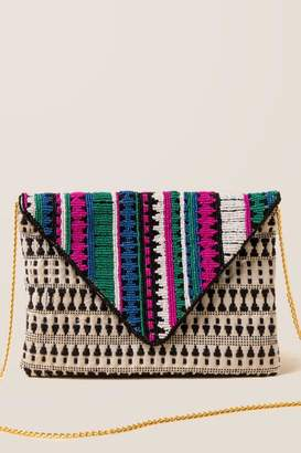 francesca's Loren Printed Beaded Clutch - Black/White