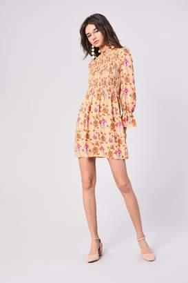Glamorous Womens **Shirring Floral Print Dress By Yellow