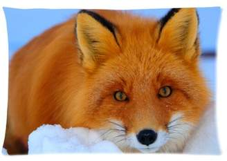 Pillowcase 2421 Funny Love Red Foxes Zippered Pillowcase Pillow Cases Cover 20x30 (One side)