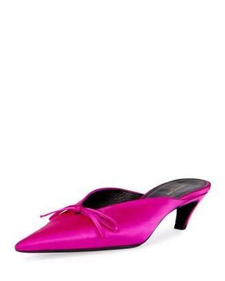 Balenciaga Satin Pointed-Toe Slide Mule, Rose Fuchsia $665 thestylecure.com