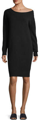 Vince Off-the-Shoulder Long-Sleeve Wool-Cashmere Dress