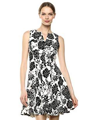Gabby Skye Women's Fit and Flare Floral Ottoman Dress