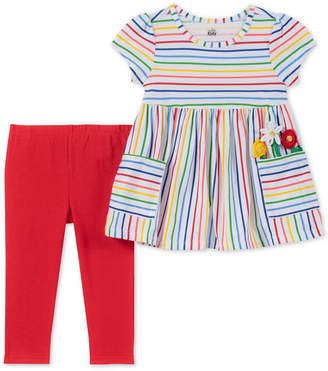 Kids Headquarters Little Girls 2-Pc. Rainbow Stripe Tunic & Leggings Set