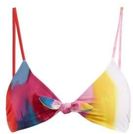 Mara Hoffman Carla Knot Detail Bikini Top - Womens - Pink Multi