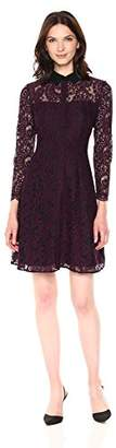 Nanette Lepore Nanette Women's Long Sleeve Lace Shirt Dress W/Contrast Collar
