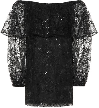 Rotate by Birger Christensen Exclusive to Mytheresa lace off-the-shoulder minidress