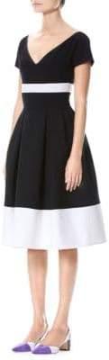 Carolina Herrera Short-Sleeve V-Neck Cocktail Dress