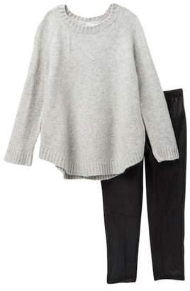 Splendid Sweater & Pleather Legging Set (Toddler Girls)