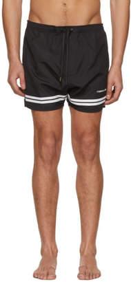 Neil Barrett Black and White Stripes Logo Swim Shorts