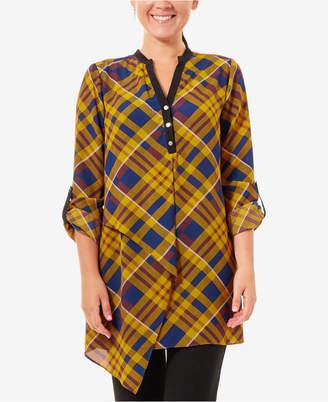 NY Collection Asymmetrical Plaid Shirt