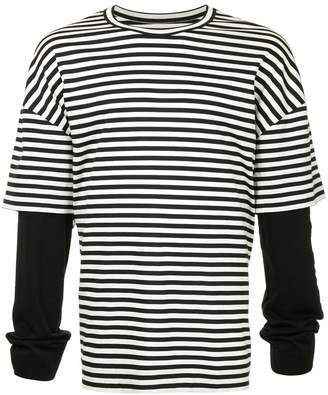 Juun.J striped contrast-sleeve T-shirt