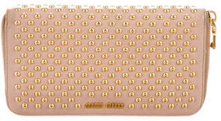 Miu Miu Miu Miu Studded Leather Wallet
