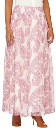 Dennis Basso Regular Paisley Printed Pleated Maxi Skirt