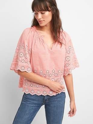 Gap Shirred Split-Neck Embroidered Blouse