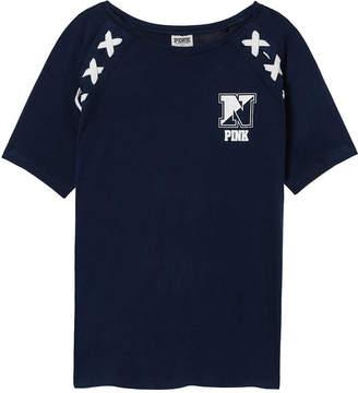 PINK Navy Crop Lace-Up Raglan Sleeve Tee