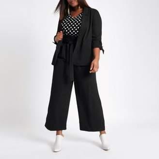 River Island Womens Plus black waffle ruched sleeve blazer