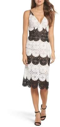 Dress the Population Vera Crochet Stripe Sheath Dress