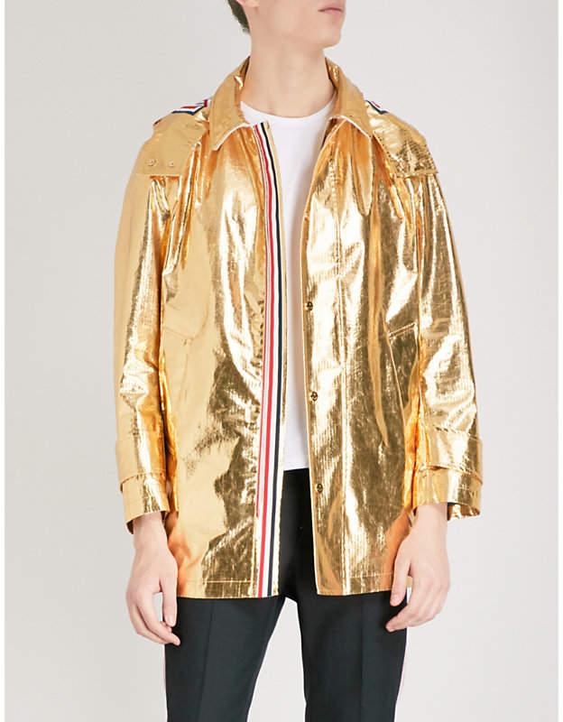 Hooded metallic-cotton parka jacket