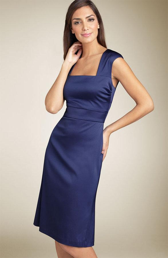 Donna Ricco Square Neck Stretch Sheath Dress