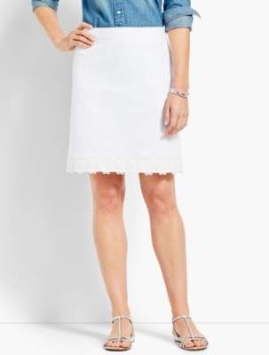 Talbots Lace-Trimmed Stretch Cotton Canvas Skirt