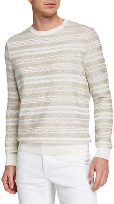 Ermenegildo Zegna Men's Striato Striped Crewneck Sweater