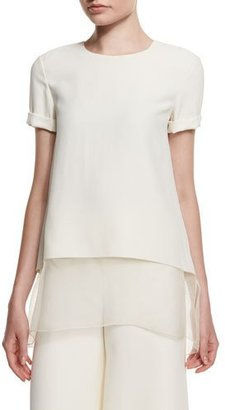 Ralph Lauren Collection Layered-Hem Short-Sleeve Top, Cream $1,190 thestylecure.com