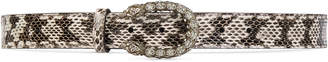 Snakeskin belt with crystal Dionysus buckle $590 thestylecure.com