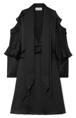 By Malene Birger Alberto Cold-shoulder Ruffled Satin Mini Dress - Black