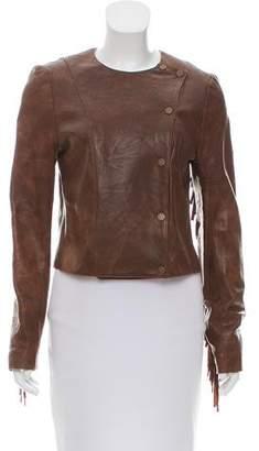 Veronica Beard Fringe-Accented Leather Jacket