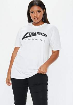Missguided Plus Size White Los Angeles Oversized T Shirt