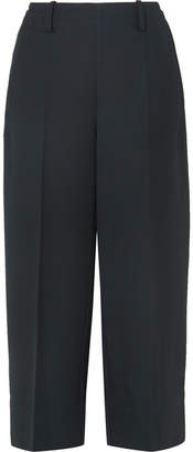Lemaire Cropped Wool-gabardine Wide-leg Pants - Midnight blue