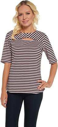 Denim & Co. Round Neck w/ Keyhole Elbow Sleeve Striped Top