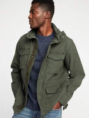 Old Navy Canvas Built-In Flex Stowaway-Hood Military Jacket for Men