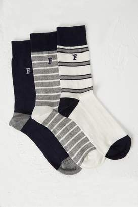 French Connection 3 Pack Oakley Stripe Socks