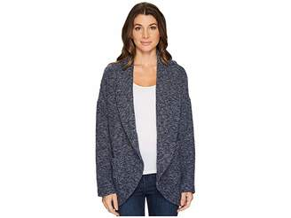 Mod-o-doc Corded Sweater Knit Shawl Collar Patch Pocket Cardigan Women's Sweater