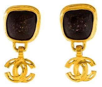 Chanel Bronze Logo Clip-On Earrings