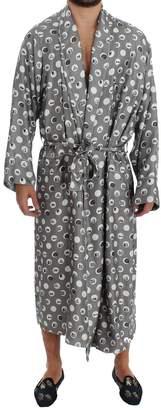 Dolce & Gabbana Silver Sicily Print SILK Robe Coat Nightgown