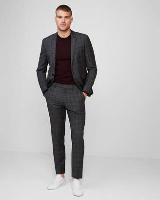 Express Extra Slim Plaid Wool Suit Pants