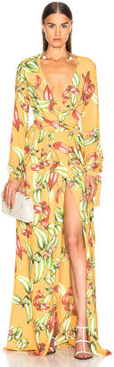 PatBO Zebrina Print Beaded Maxi Wrap Dress in Yellow | FWRD